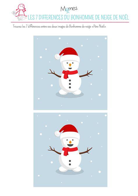 jeu de cuisine de noel jeu des 7 différences le bonhomme de neige quot père noël