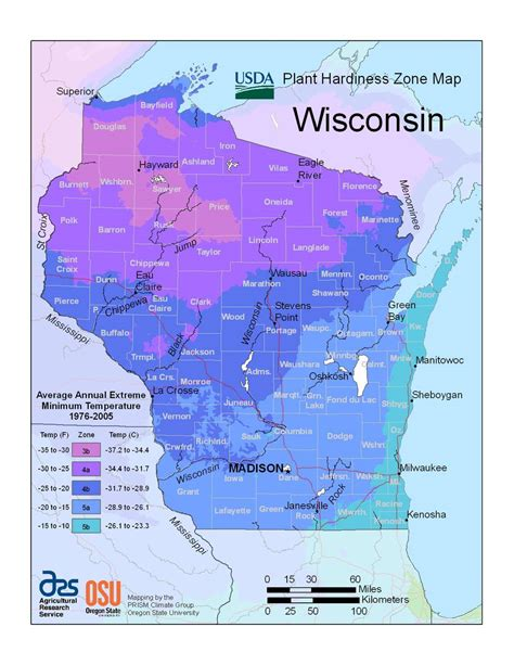 zones usda hardiness wisconsin zone 5b state plant 3b map maps represented through