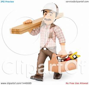 Clipart Of A 3d Male Carpenter Carrying Lumber And A Tool