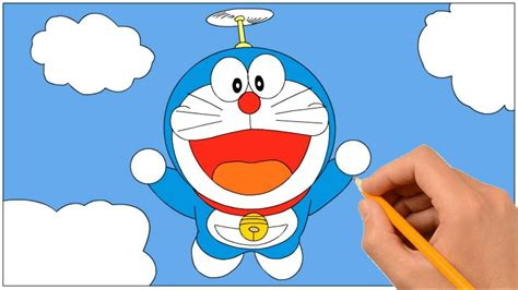 How To Draw Doraemon Flying With Propeller