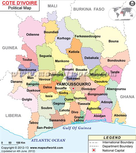 Political Map Of Cote D'ivoire, Map Of Ivory Coast