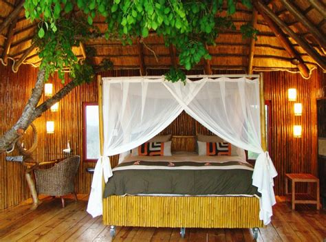 large tree houses  natural bamboo bedroom  tree