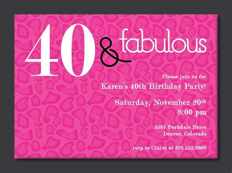 40th Birthday Free Printable Invitation Template 40th