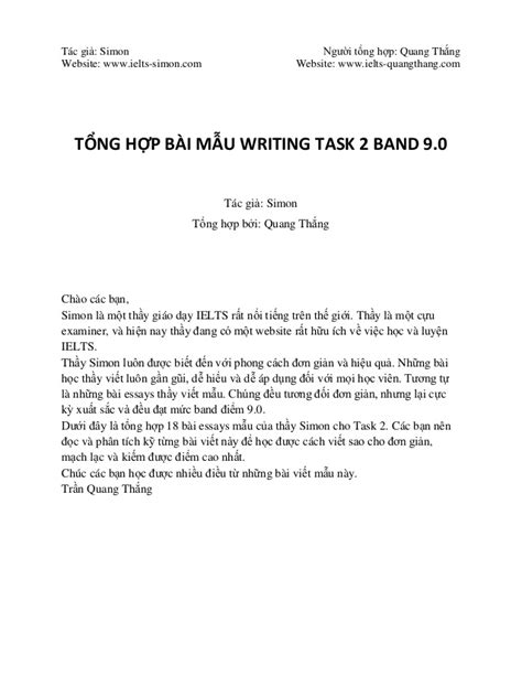 WRITING TASK 2 BAND 9.0 Collection from www.ielts-simon.com