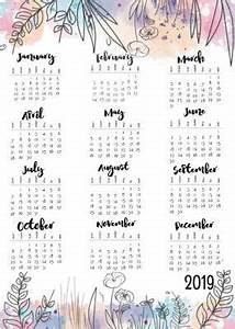 Free Printable September 2020 Calendar 2019 Year At A Glance Calendar Journal Calendar 2019