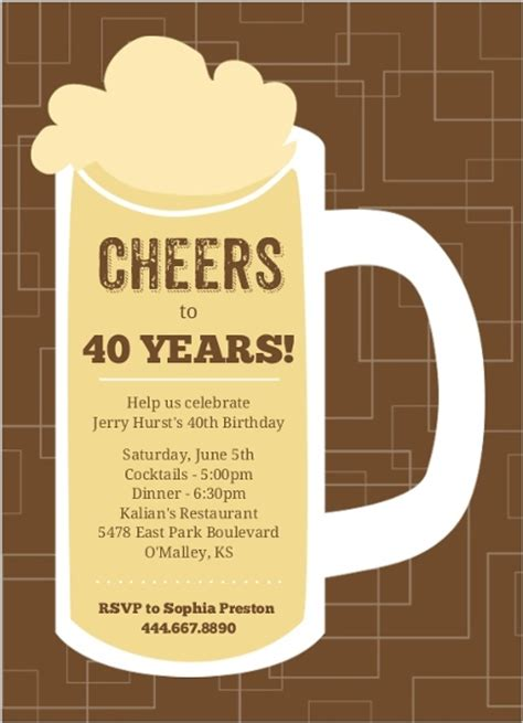 brown beers cheers  birthday invitation