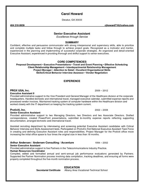 administrative assistant resume skills profile exles impressive senior executive administrative assistant resume exle with core competencies and