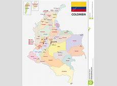 Mapa Administrativo De Colombia Con La Bandera Ilustración