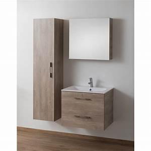 Meuble 70 Cm De Large : meuble banio dantal vasque 2 tiroirs de 70 cm couleur ch ne betonlook ~ Teatrodelosmanantiales.com Idées de Décoration