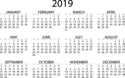 2019 Calendar Download Pdf