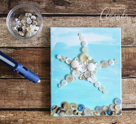starfish wall art  easy  adorable button craft