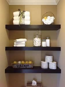 Fascinating Bathroom Wood Floating Shelves Maroon Stained ...