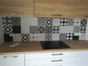 carrelage sol et mur noir et blanc effet ciment gatsby l With carrelage adhesif salle de bain avec dalle led 20 x 20