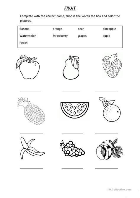 vocabulary fruit  images english worksheets