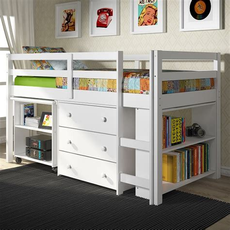 white low loft bed with desk low loft bed solid pine bunk bed with desk