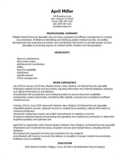 medical records specialist resume resume teamplates