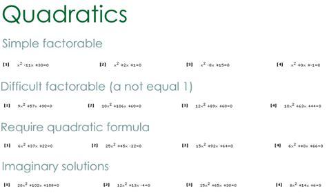 Quadratic Formula Math Worksheets  Quadratic Equations Worksheets Sadieandmitziquadra98 Algebra