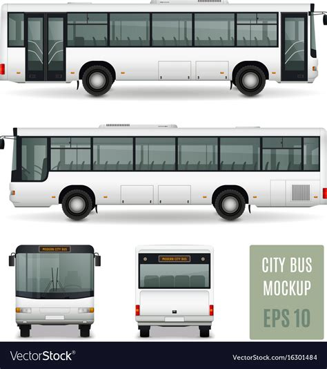 city bus realistic advertising template royalty  vector