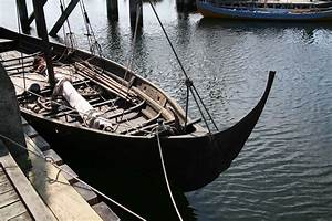 Viking ship replica Skuldelev 3 in Roskilde museum harbour