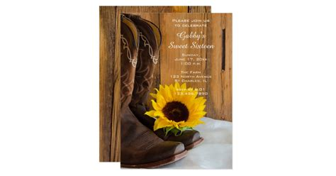 sunflower cowboy boot sweet  barn birthday party card