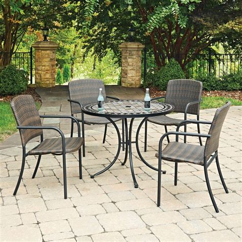 outdoor table ls marble top 5 pc outdoor dining table 4 chairs