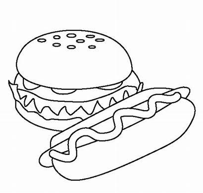 Burger Colouring Pages Hotdog Picolour