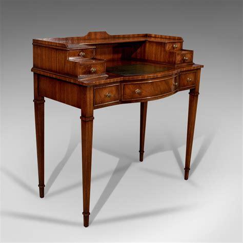 Writing Desk, Antique Sheraton Taste, Mahogany, Leather