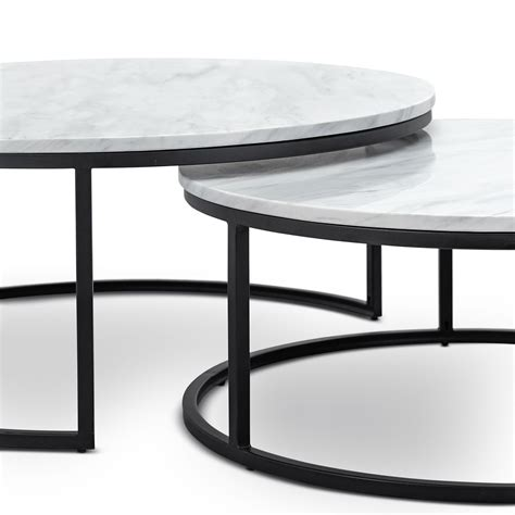 Natural variations in the color and veining of marble make each piece subtly unique. White Marble Nest Coffee Table Round Matte Black Metal Base Modern Contemporary | eBay