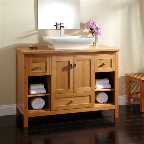 Home Depot Double Sink Vanity Top 48 quot alcott bamboo vessel sink vanity bathroom