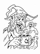 Coloring Witches Scary sketch template