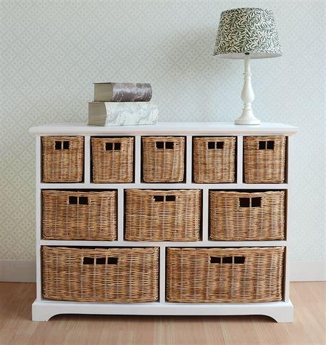 storage shelf with baskets tetbury wide storage chest with wicker baskets bedroom