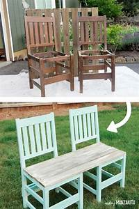 Colorful Upcycled Chair Bench For Your Backyard - Making