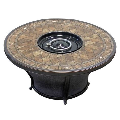 round gas fire table tkc balmoral 48 quot round gas fire pit table in porcelain top