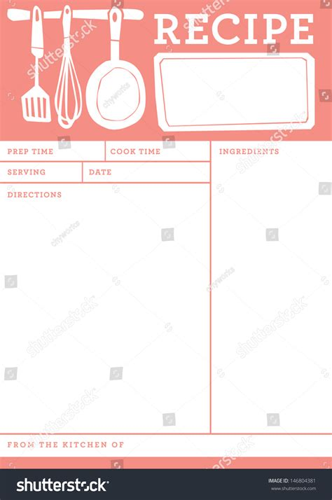 recipe card kitchen note template stock vector