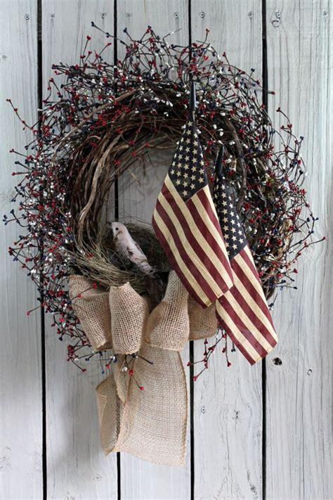 patriotic door wreath primitive wreath americana wreath