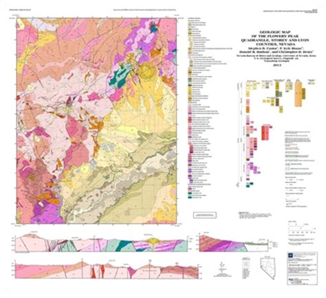 geologic map of the flowery peak quadrangle storey and lyon counties nevada map and text