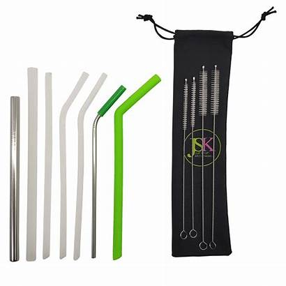 Straws Straw Metal Silicone Reusable Thin Thick