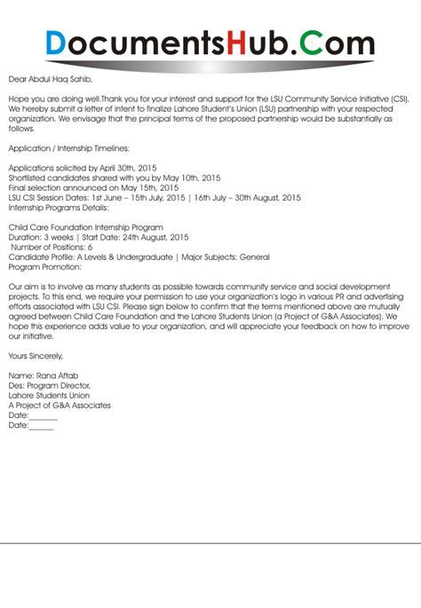 business partnership letter  intent documentshubcom