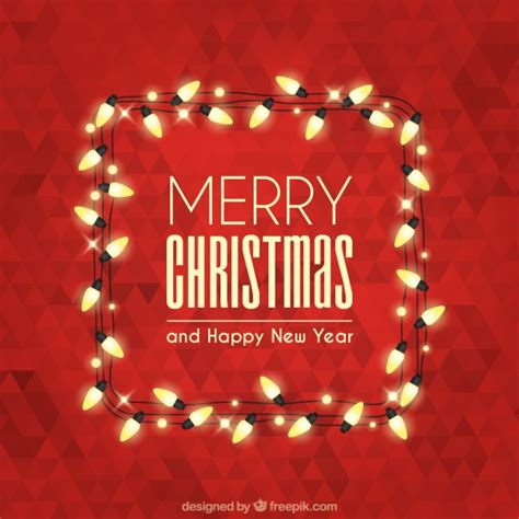 merry christmas with polygonal background and lights vector free download