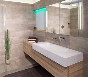 idee decoration salle de bain un carrelage mural gris With carrelage salle de bain clair