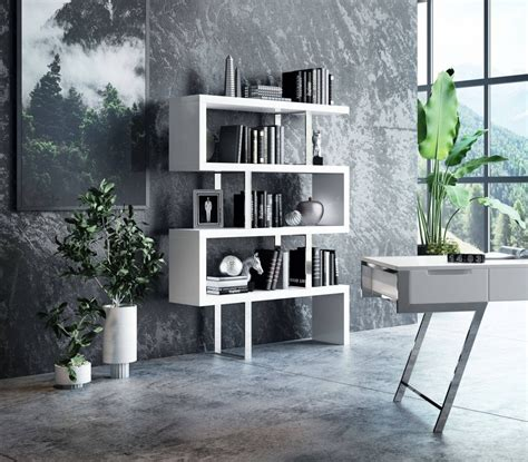 modrest maze modern white high gloss bookcase bookcases