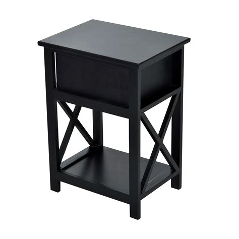 home goods end tables homcom black x side wood end table nightstand w drawer