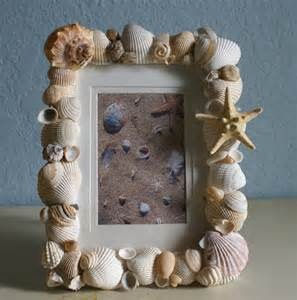 Seashell picture frame home decor sea shell photo natural