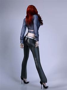 Pretty Lady Wearing Leather Pants 3D Model Max Obj Fbx