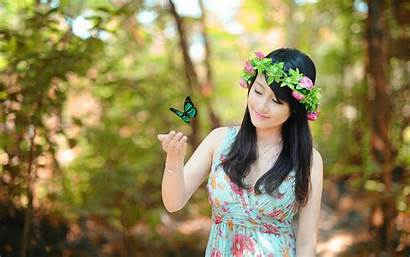 Forest Lady Asian Butterfly Woman Hair Smiling