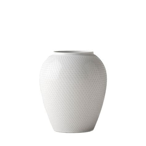Large White Vase by White Handmade Porcelain Rhombe Vase Lyngby Porcelain