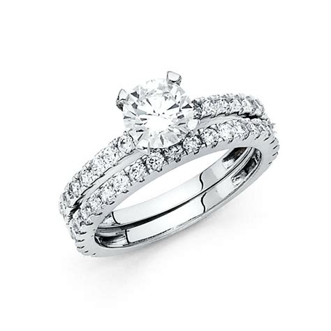 14k white gold 1 5 ct engagement bridal ring 2 wedding band ebay