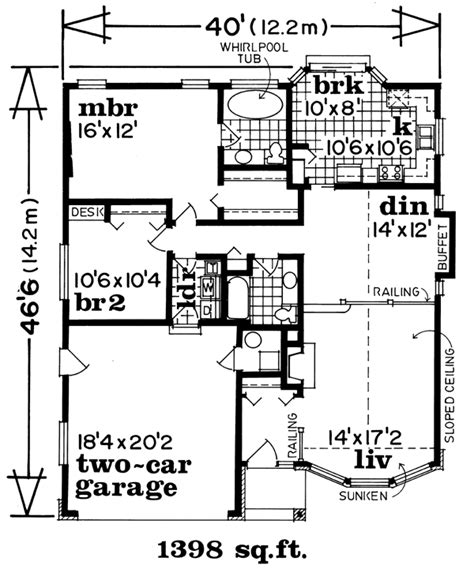 One Story Style House Plan 55065 with 1398 Sq Ft 2 Bed 2