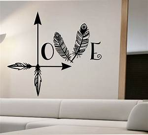 arrow feather love wall decal namaste vinyl sticker art With wall stickers decals
