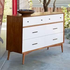 Mid-Century 6-Drawer Dresser - White + Acorn west elm